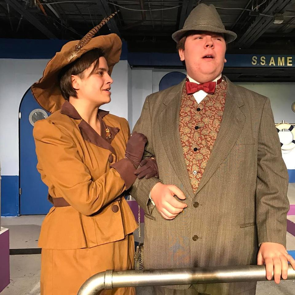 Mrs. Wadsworth T. Harcourt (Senior Cassidy Polga) proactively networks with Evelyn Oakleigh (Sophomore Craig Judicki), her prospective son-in-law.