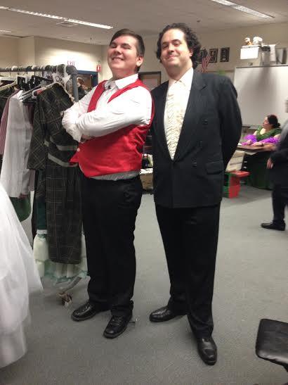 Freshman Craig Judicki and Mathematics teacher Caleb Parsons pose backstage on the set of Hello Dolly!