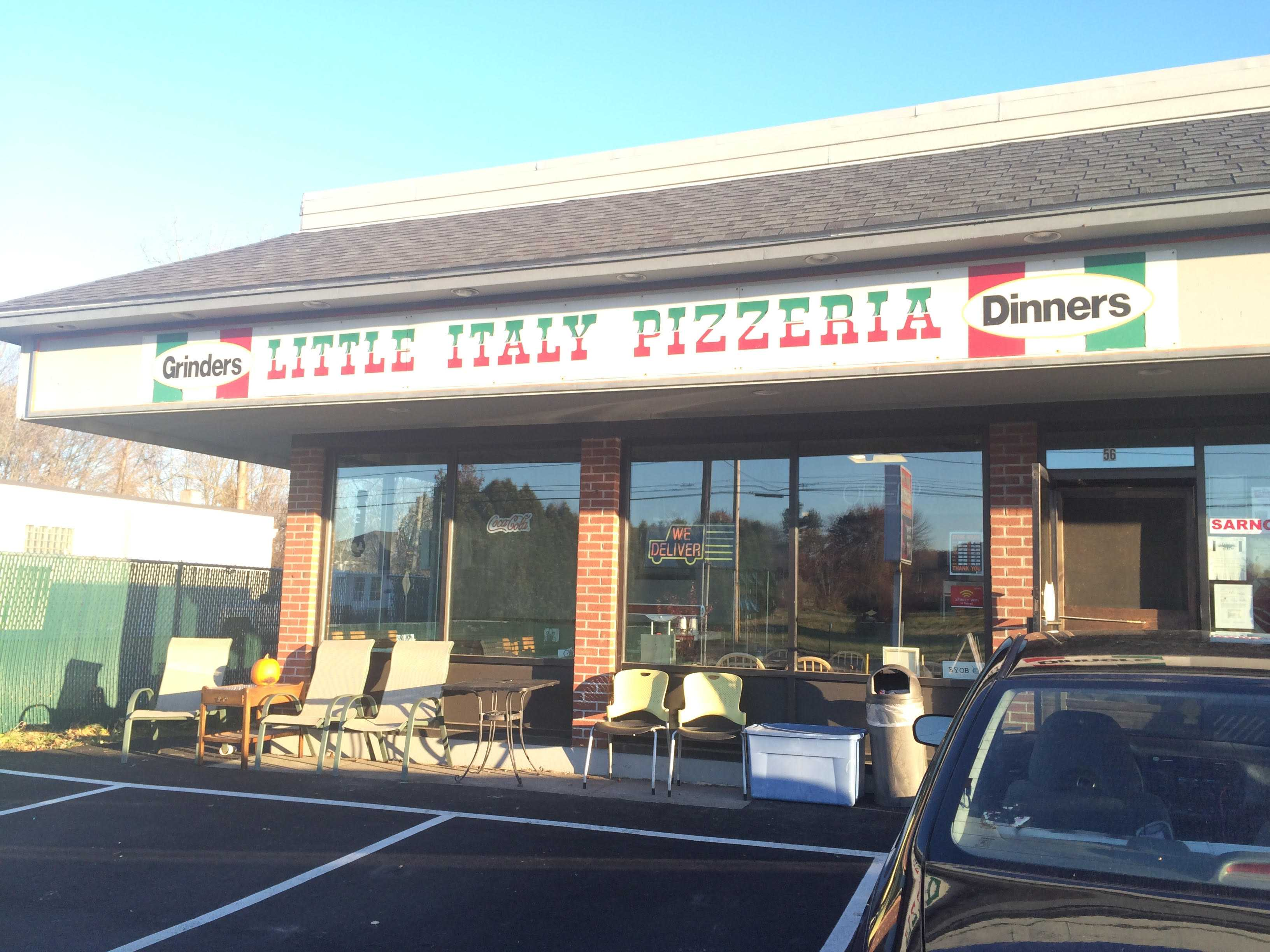 The outside of Little Italy's Pizzeria in Granby,  which delivers to MacDuffie.