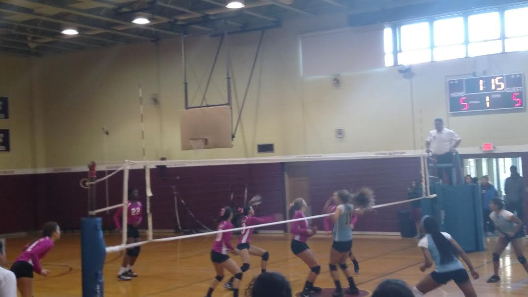 The Mustangs Volleyball players, in pink, faced many obstacles this season, but went farther than ever before. Photo by Cassidy Polga.