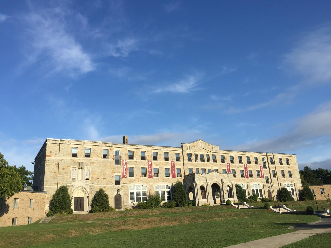 MacDuffie's main building on a sunny day in September. Photo by Caffrey Chen '18.