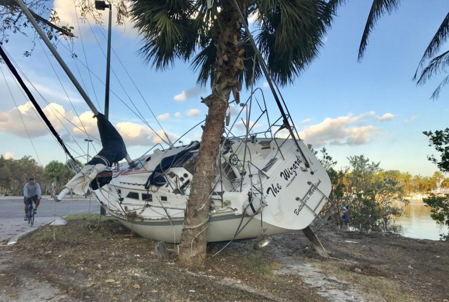 A boat washed up by Hurricane Irma in Florida. Photo taken by RA Sarah Hoffman on her trip to assist with clean-up efforts.