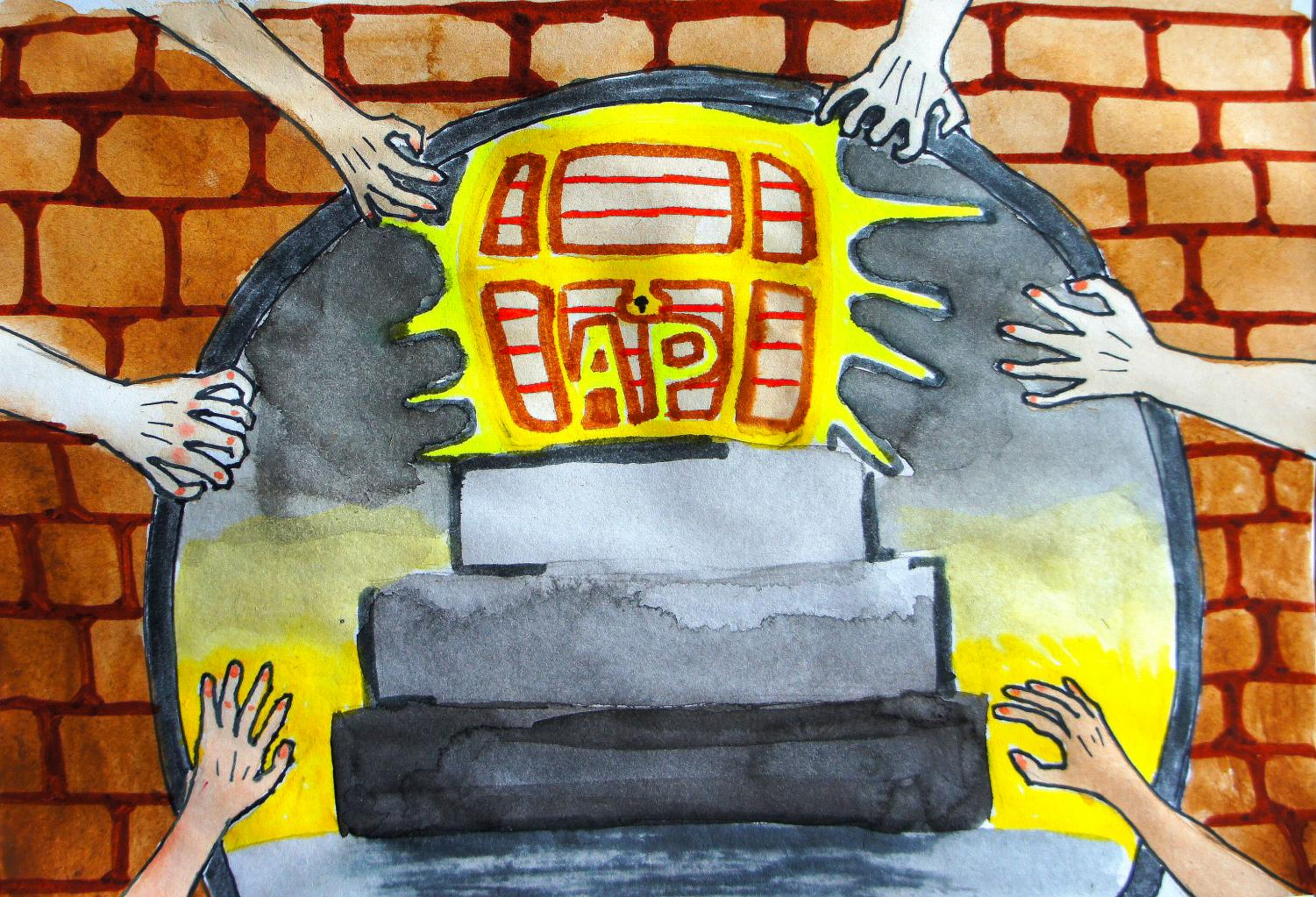 Students competing to get AP classes. Art by Bell Wang '19.