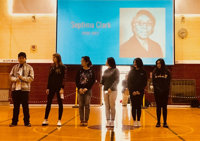 Ms. O'Brien's US History group giving a presentation on African American people during assembly on February 23rd. Photo by Sarah Hoffman.