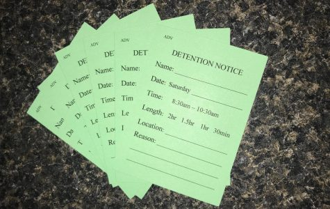 A fresh stack of detention slips waiting to be written and distributed; they only include a Saturday option. <i>Photo by Marie Hua.</i>