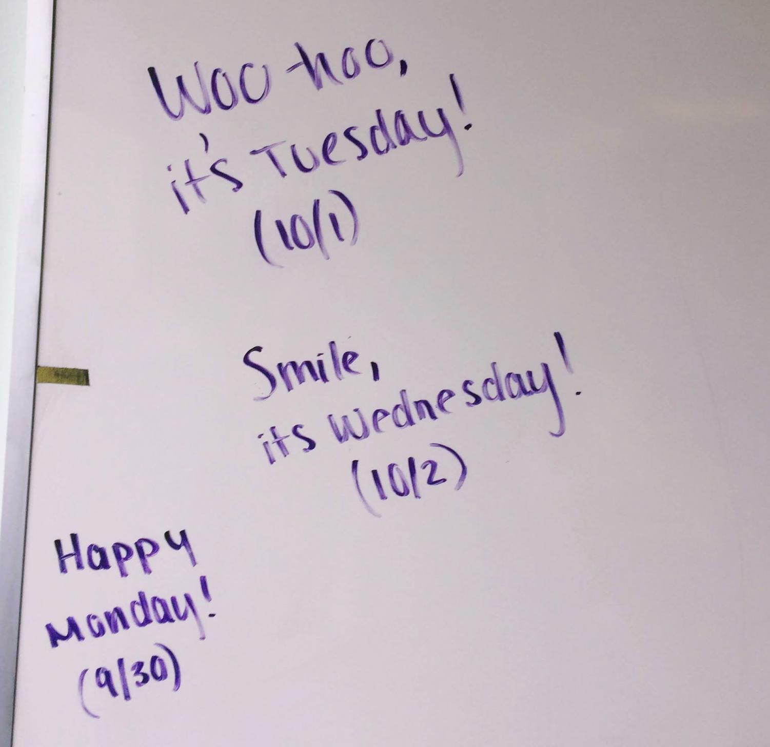Positive messages left by the mystery writer on the white board in the computer lab.