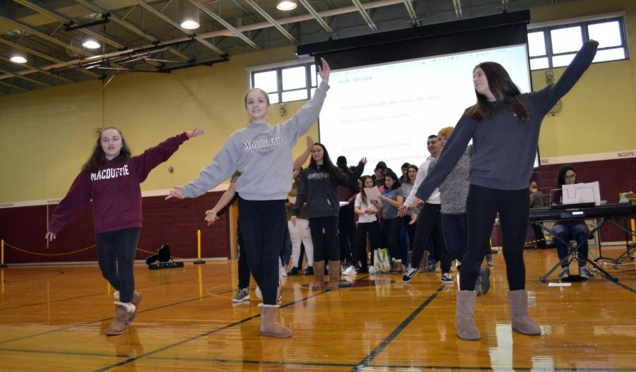 MacDuffie students of the class of 2020 participate in a group choreography during the 2018 song contest.  Photo courtesy of the Yearbook
