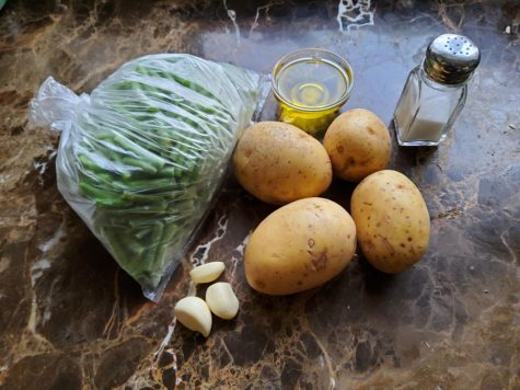 All of the ingredients needed for potato stew with string beans. Photo by Polina Spirina