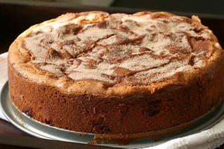 "Ready ""Charlotte"" cake sprinkled with cinnamon. Photo under the public domain."