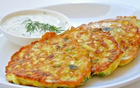 Ready zucchini fritters on the plate. Photo via Larisa Koshkina under the public domain.