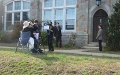 The cast in the process of filming, photographed by Clara LaChance '23