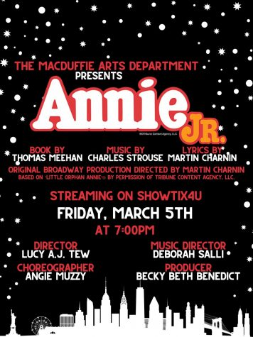 A poster for the Annie Jr Winter Musical Play that will be shown at 5 PM EST on 3/5/21